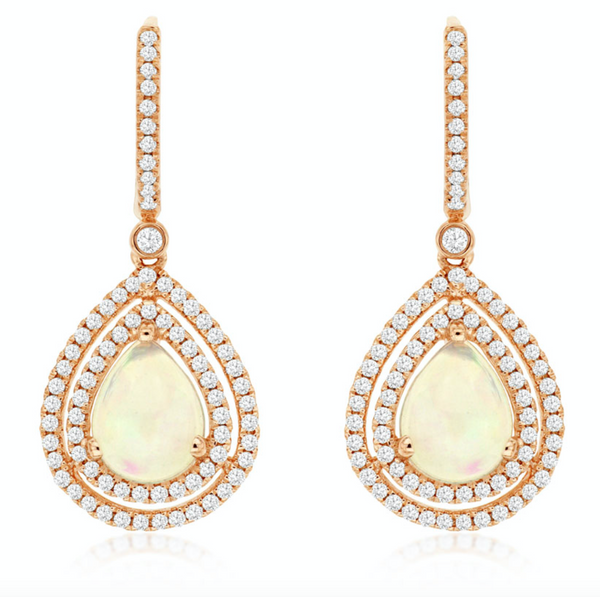 Double Halo Opal Drop Earrings