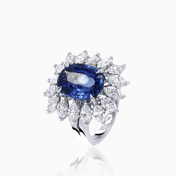 Platinum Marquise Ring with Sapphire