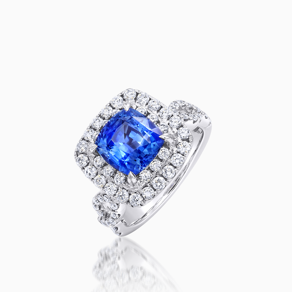 Beautiful Sapphire and Diamond Halo Ring