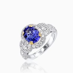 Shiny Sapphire and Diamond Ring