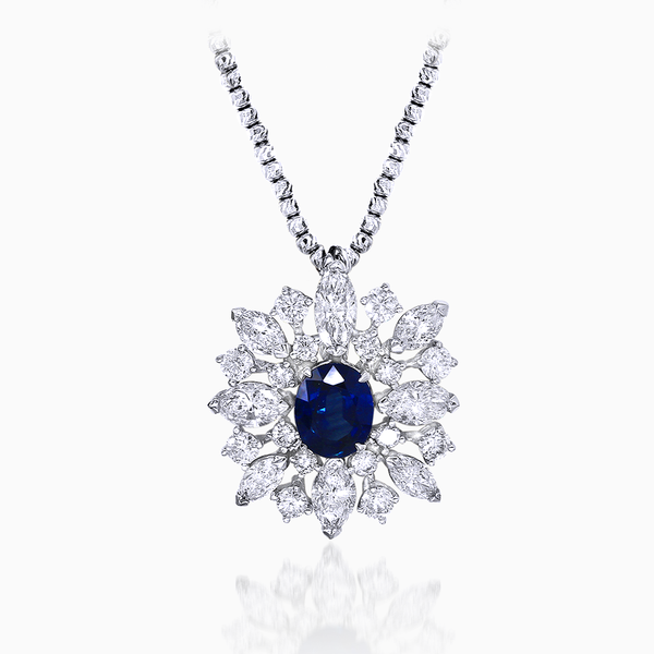 Sapphire and Marquise Pendent