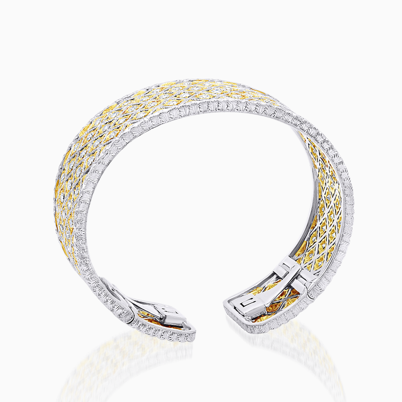 Two Tone Diamond Wide Cuff