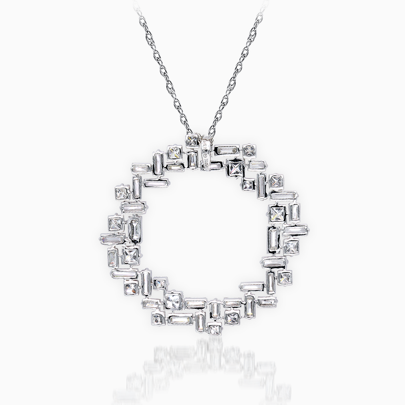 Princess and Baguette Cut Diamond Pendant