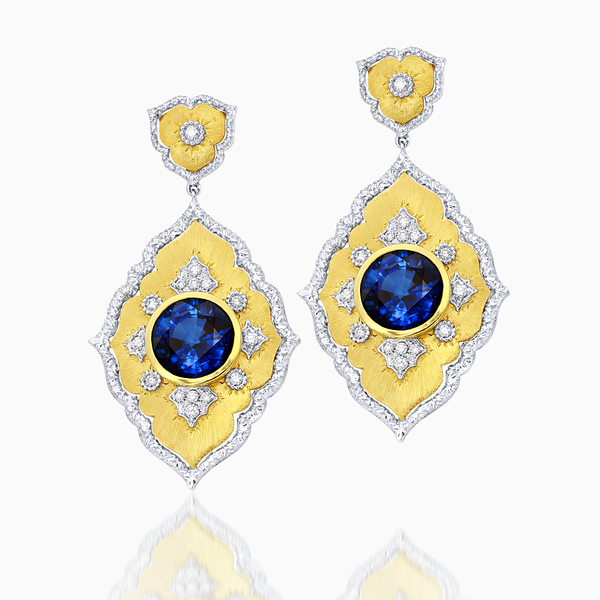 Blue Corundum Earrings with Diamonds