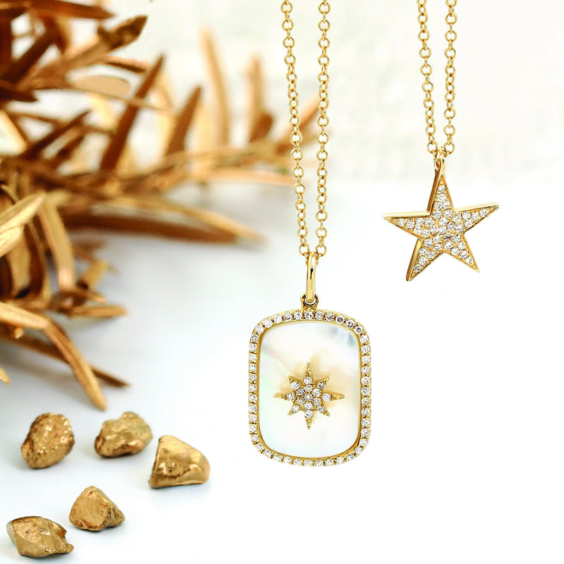 Mother of Pearl Diamond Star Necklace