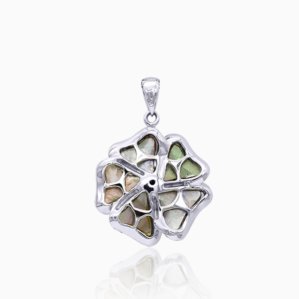 3D Silver Gray Mother of Pearl Rose Pendant with Diamond