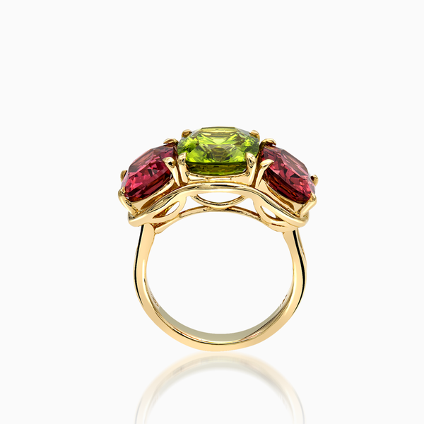 Peridot and Pink Tourmaline Ring