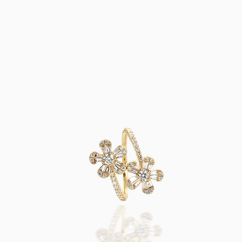 Two Flower Diamond Ring