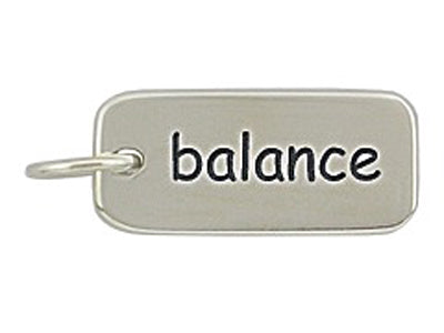 Sterling Silver Balance Word Tag Charm