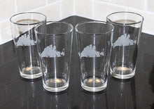 Load image into Gallery viewer, Martha's Vineyard Map Etched Beer Glass Set of 4