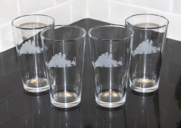 Martha's Vineyard Map Etched Beer Glass Set of 4