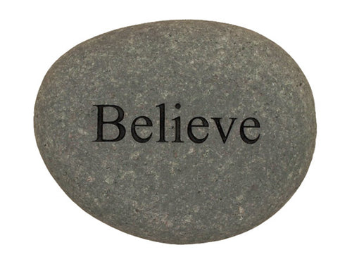 Believe Carved River Stone