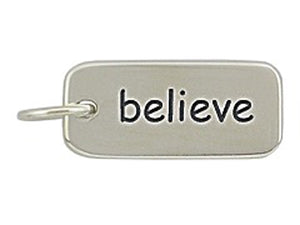 Sterling Silver Believe Word Tag Charm
