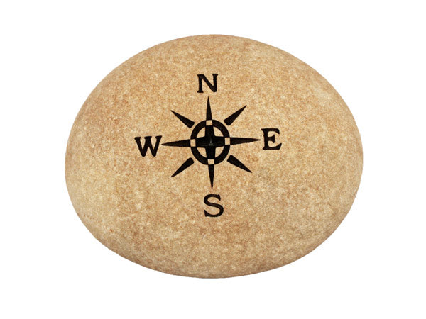 Compass Rose Carved River Stone