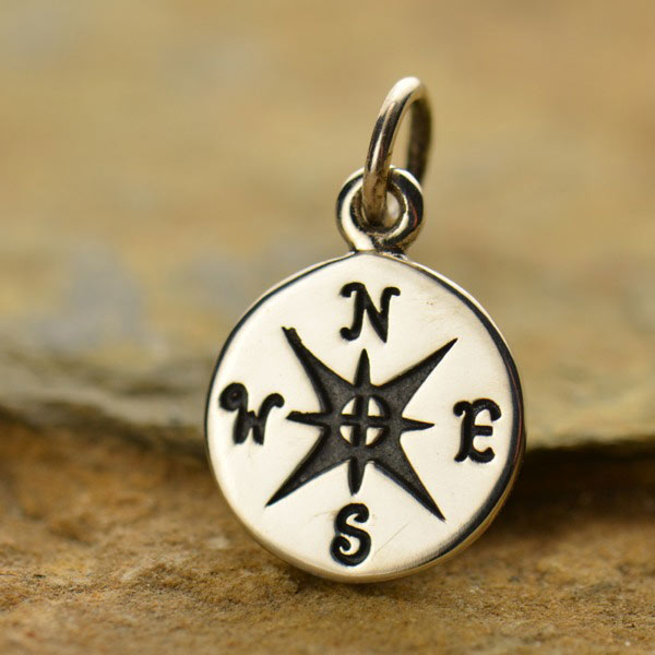 Sterling Silver Small Compass Rose Charm
