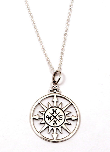 Sterling Silver Large Compass Rose Necklace