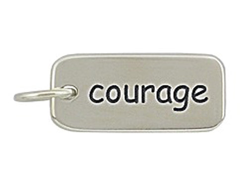 Sterling Silver Courage Word Tag Charm
