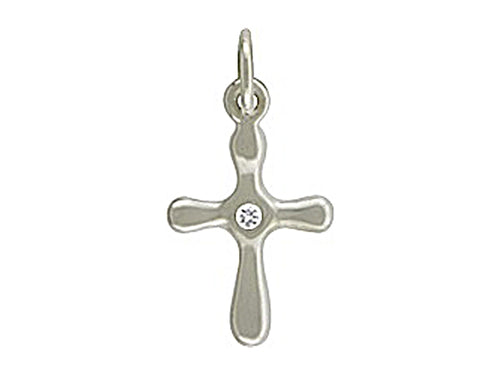 Sterling Silver Cross Charm with Genuine 1 Point Diamond