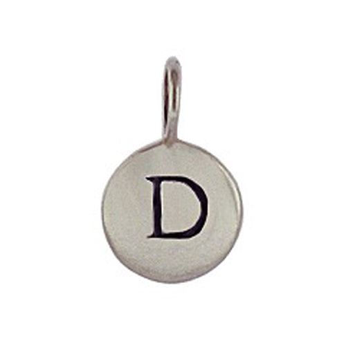Sterling Silver D Initial Disk Charm