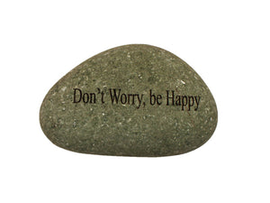 Don't Worry Be Happy Small Carved Beach Stone