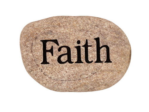 Faith Carved River Stone