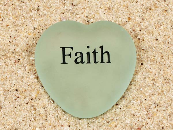 Faith Engraved Sea Glass Heart