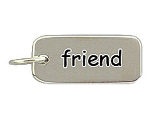 Sterling Silver Friend Word Tag Charm