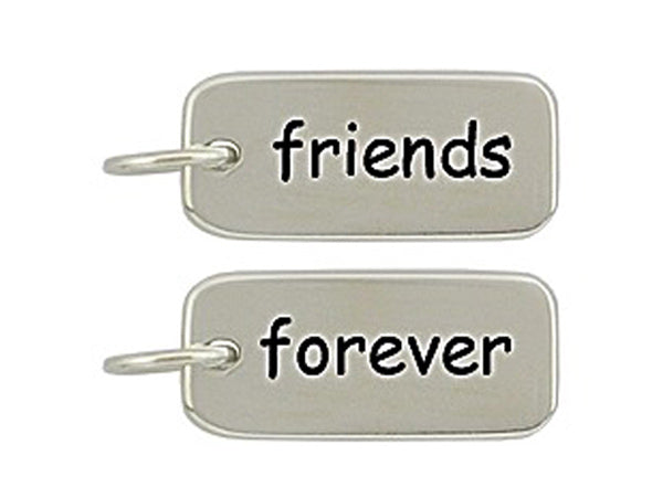 Sterling Silver Friends/Forever Word Tag Charm