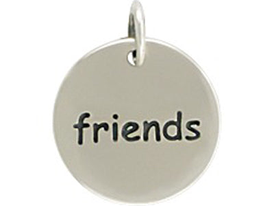 Sterling Silver Friends Round Word Charm