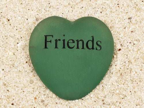 Friends Engraved Sea Glass Heart