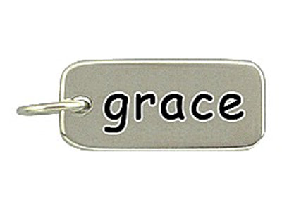 Sterling Silver Grace Word Tag Charm