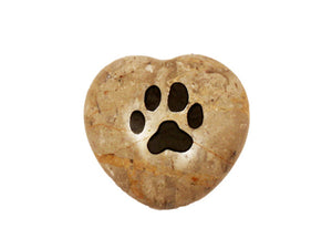Paw Print Small Engraved Heart