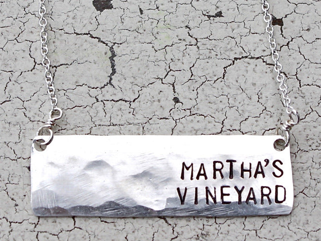 Martha's Vineyard Horizontal Bar Sterling Silver Necklace
