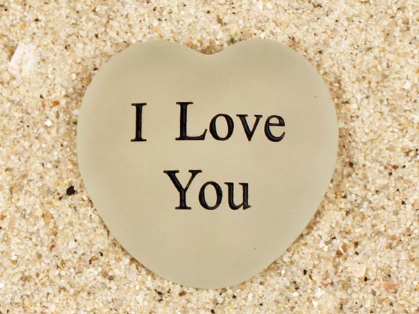 I Love You Engraved Sea Glass Heart