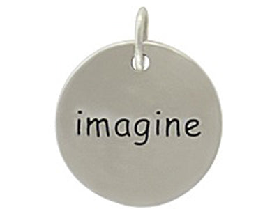 Sterling Silver Imagine Round Word Charm