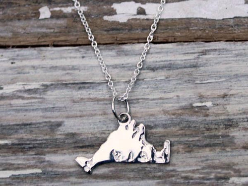 Martha's Vineyard Detailed Medium Island Charm Necklace