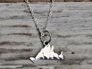 Martha's Vineyard Detailed Small Island Charm Necklace