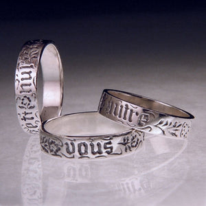 Sterling Silver Vous et nul autre Poesy Ring