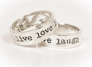 Sterling Silver Live Love Laugh Ring