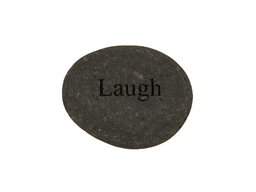 Laugh Small Carved Beach Stone