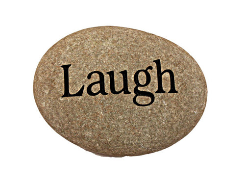 Laugh Carved River Stone