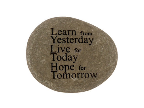 Learn From Yesterday Small Carved Beach Stone