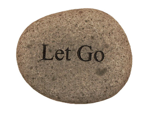 Let Go Carved River Stone