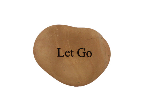 Let Go Small Carved Beach Stone