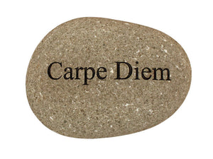 Carpe Diem Carved River Stone