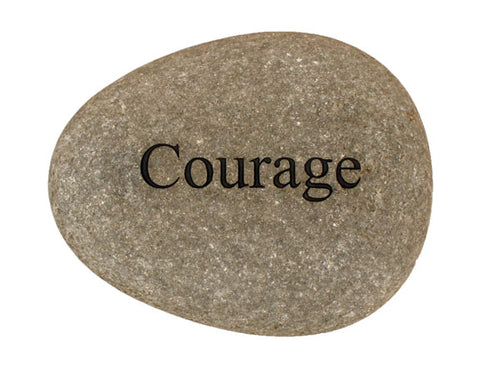 Courage Carved River Stone