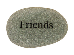 Friends Carved River Stone