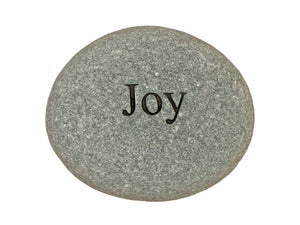 Joy Carved River Stone