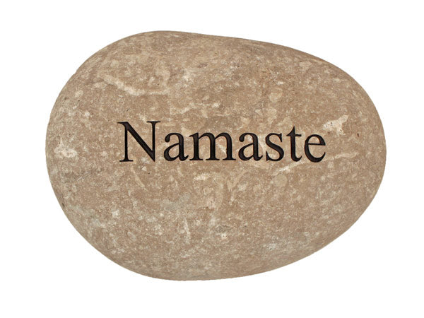 Namaste Carved River Stone