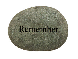 Remember Carved River Stone
